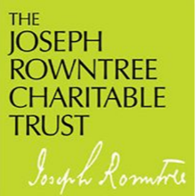 The logo for the Joseph Rowntree Charitable Trust. The background is a green square, with the name of the trust written on it in black, and Joseph Rowntree's signature in white at the bottom of the square.